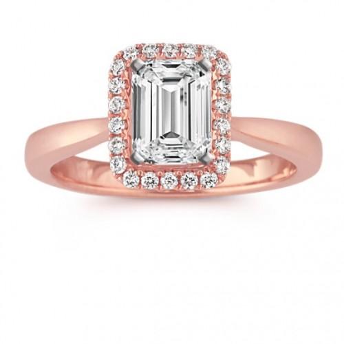 Emerald cut in Pink gold
